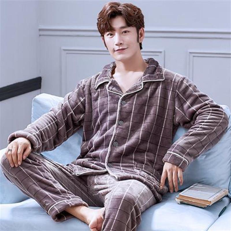 Adam Casual Homewear Sıcak Seksi Şerit Katı Renk Pijama Kış Yeni Moda Kalın Flanel Baba Pijama 201109