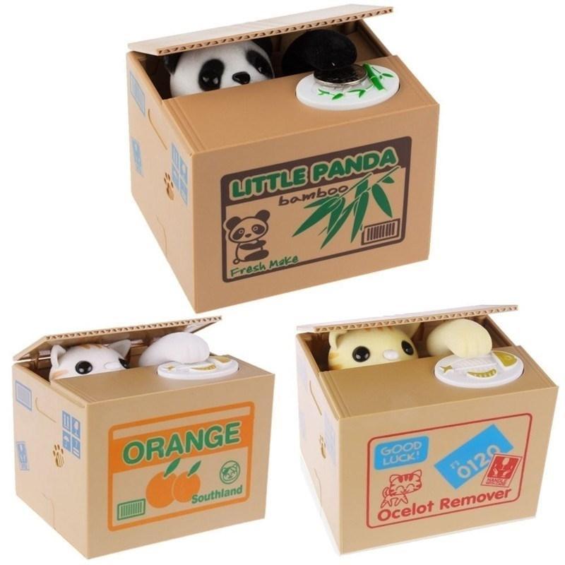 Mágica engraçado brinquedo caixas de dinheiro cofrinho bancos ladrão moneyboxes automático roubou moeda co-cofrinho caixa de poupança Caixa criativa crianças presentes Y200428