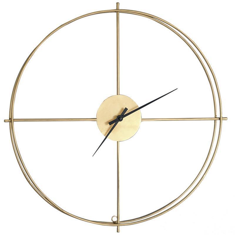 ساعات الحائط كبيرة خمر جولة المعادن ساعة طبقة مزدوجة إطار الحديد كتم ساعة للمنزل غرفة المعيشة مكتب ديكور تصميم عصري