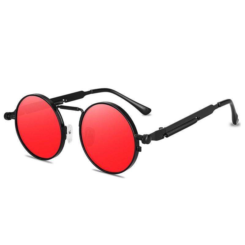 الأزياء جولة steampunk نظارات ماركة تصميم الرجال النساء خمر المعادن فاسق نظارات الشمس uv400 ظلال النظارات gafas de sol