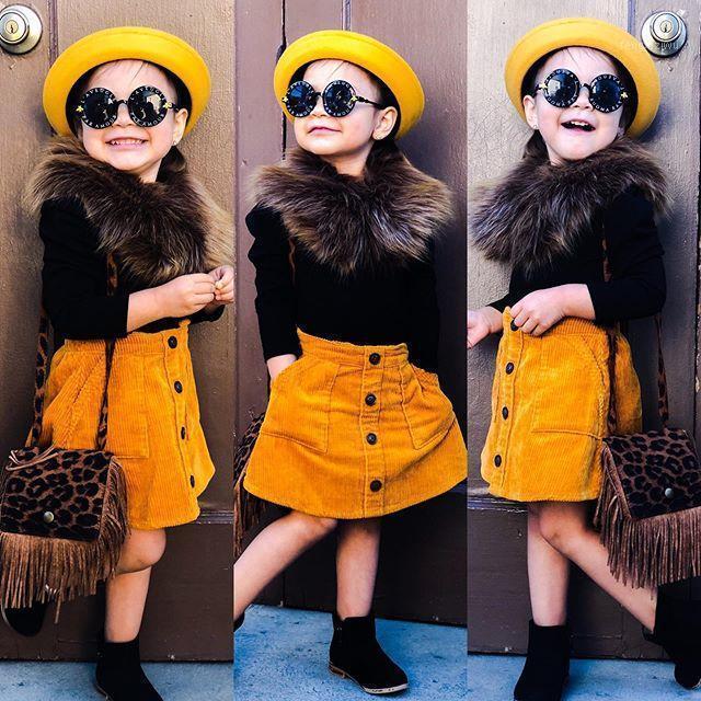 Crianças crianças meninas roupas outono inverno moda 3 pcs manga longa top + botão bolso de bolso saia de linha + gola de pele de faux 3-7years1