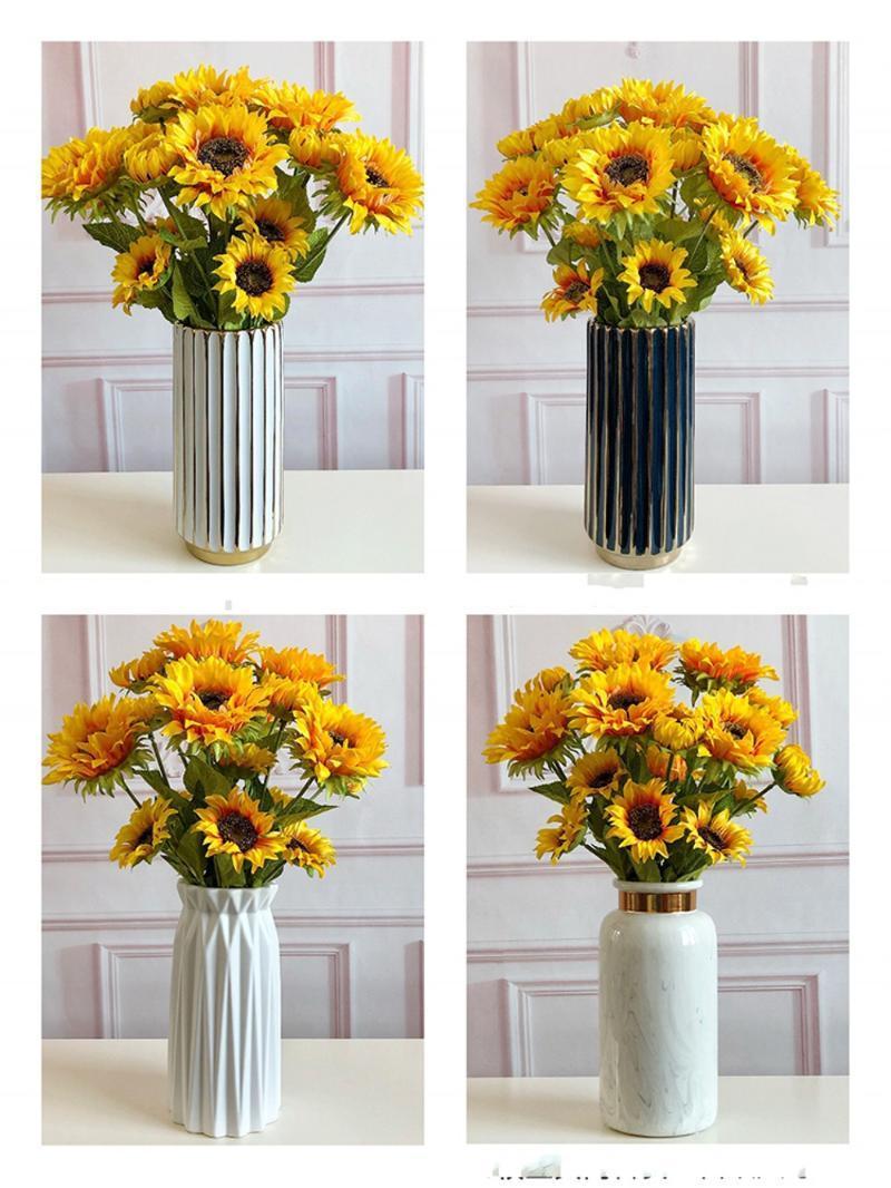 10pcs Artificial 3Heads Sunflower Fake Flower Simulation Flower Plant Bonsai Wedding Decoration INS Wind Home Decoration Flores