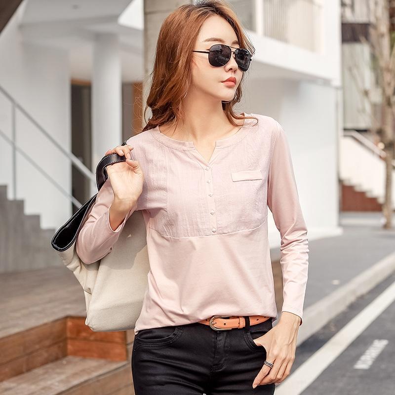 KUWDa 2020 Herbst neue Art und Weise Straße T-Shirt mit V-Ausschnitt Ärmel lang ZMgbG lässigen Baumwoll-T-Shirt für Frauen Top Coat Spleißen obersten dünne