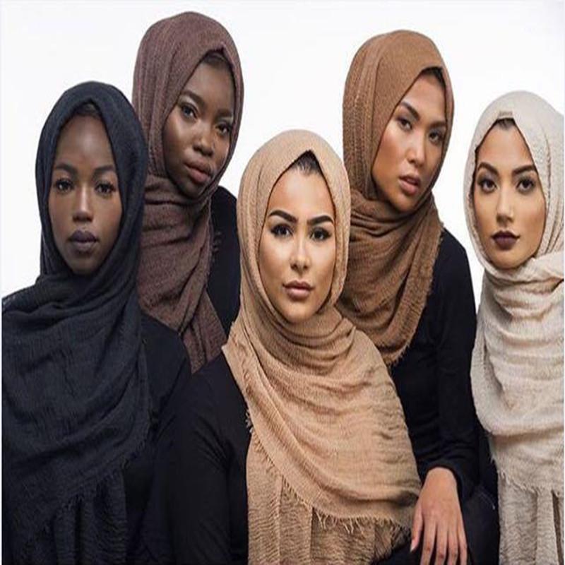 Bufanda de algodón aplastado Color sólido Pantalla solar Muslim Muslim Hijab Turban Femme Ropa al por mayor Drop Shipper1