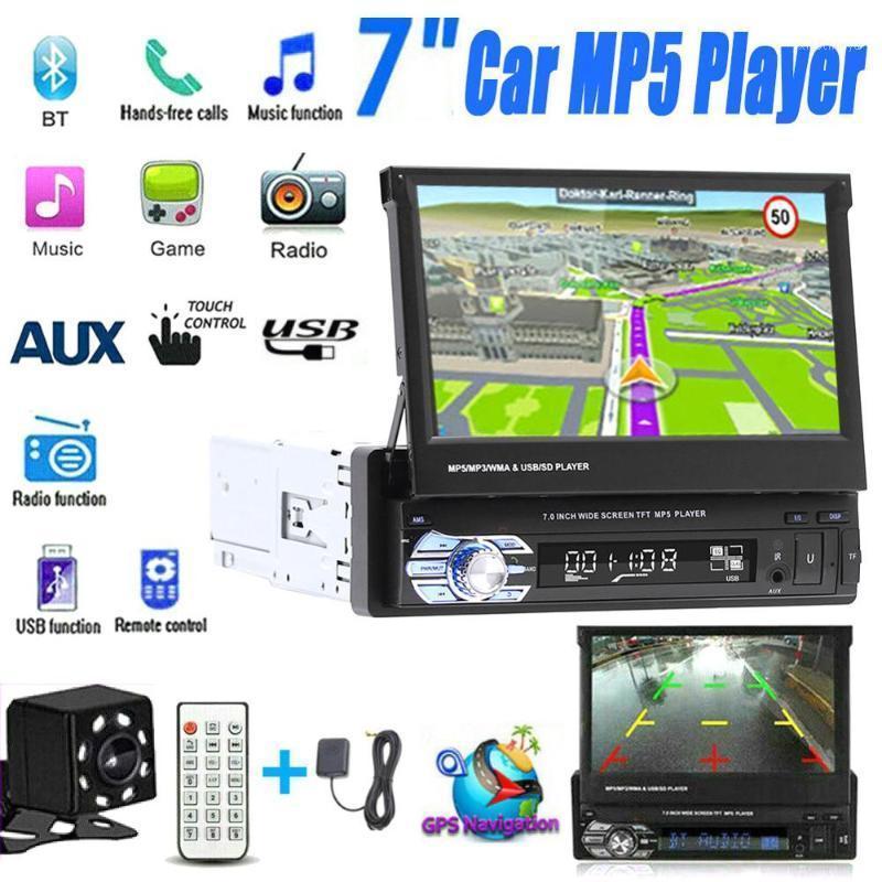 7 '' Автомобильный стереодиоковещательный Audio Radio GPS навигация выдвижной авторадиос с BT DVD MP5 SD FM USB-плеер задний вид камеры заднего вида1