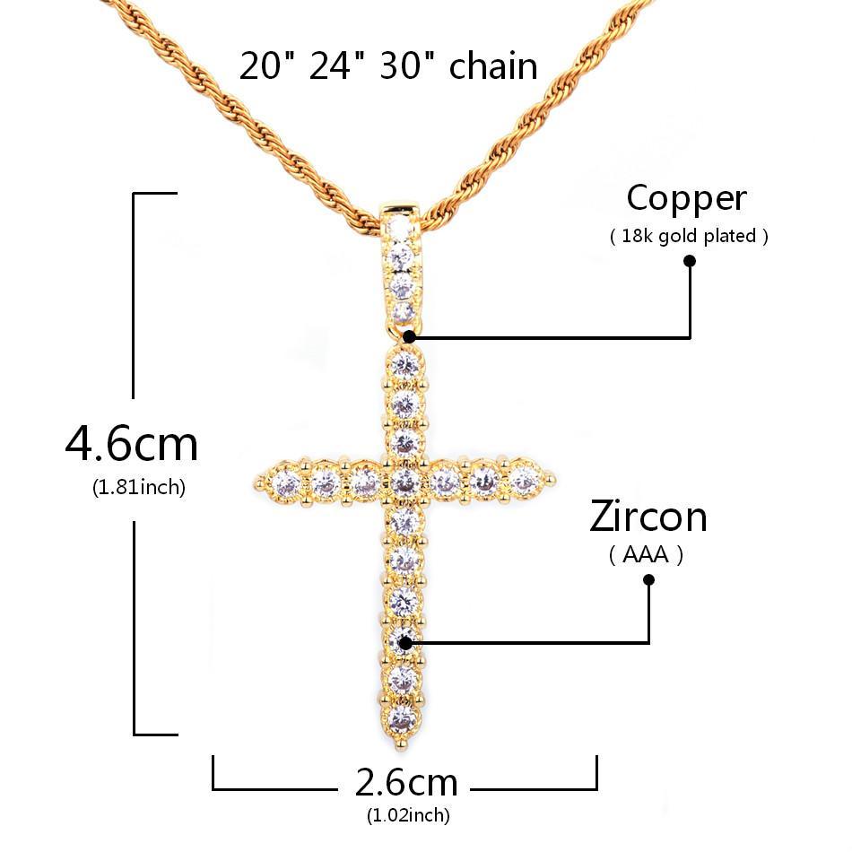 Zircon cubique Pendentif croix Collier Matériau Cuivre Or Couleur Hommes Femmes Hip Hop Bijoux Avec Cuba / Rope Chain