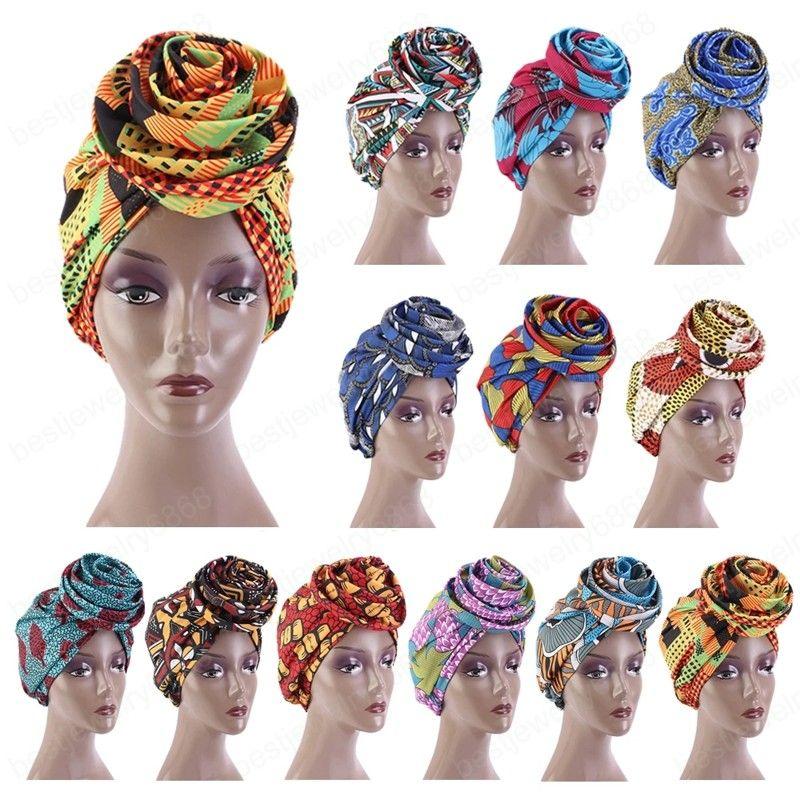 Ethnic Printed Big Flower Headscarf Bonnet Women Turban Hat Turbante Femme Musulman India Hat Islamic Head Wrap Turban Fashion