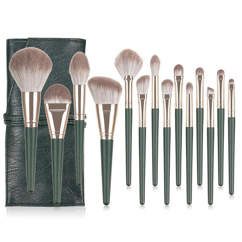 14pcs / Green Set Grand Pinceaux Poudre haute brillance fard à paupières Fondation Contour synthétiques Outils de cheveux cosmétiques Beauté