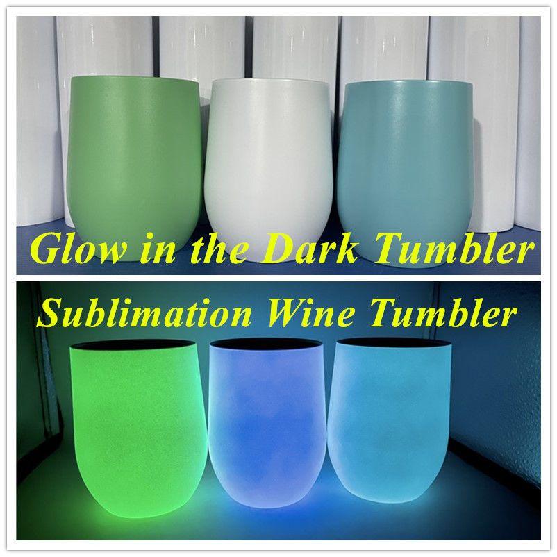 DIY التسامي النبيذ الهلوان توهج في الظلام بهلوان 12 أوقية النبيذ نظارات مع الطلاء مضيئة كوب بيضة كوب مضيئة