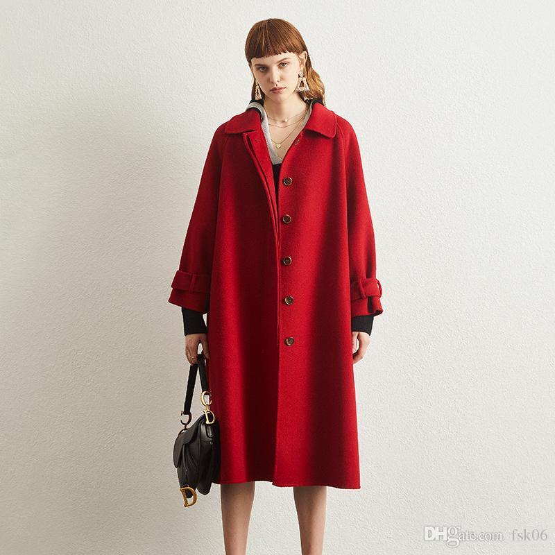 Uzun kadın 100% yün ceket çift taraflı kaşmir ceket 2020 kış yeni high-end kırmızı düğün yün gevşek yün büyük boy