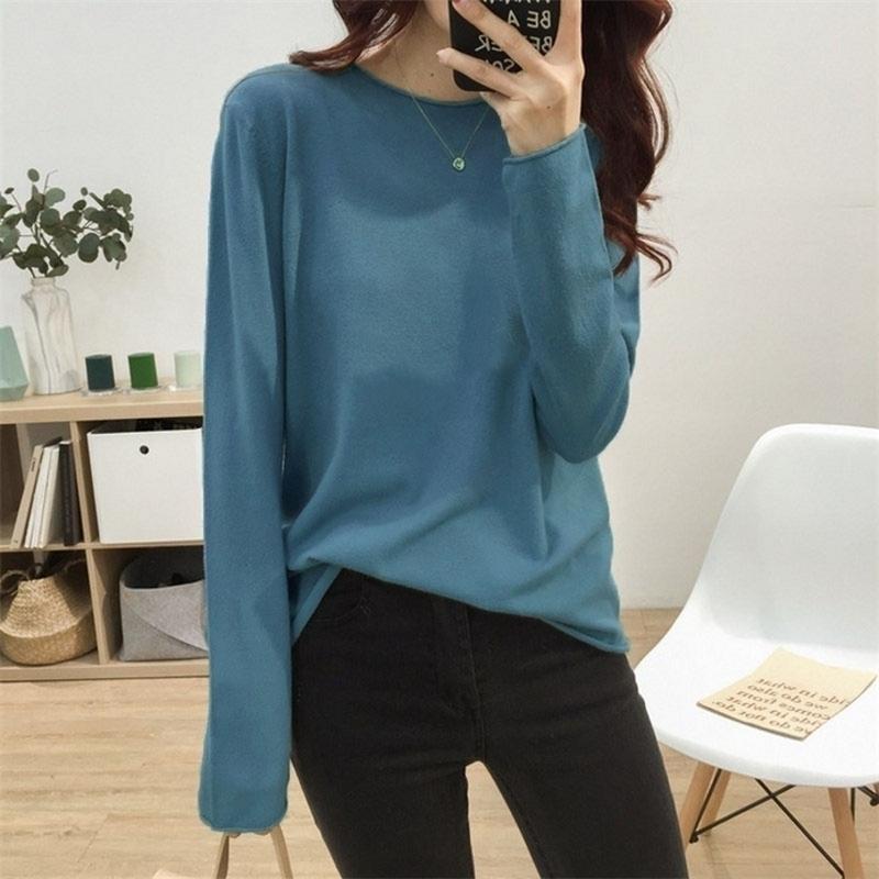 Kaschmir-Pullover Frauen-O-Ansatz Wolle Pullover lange Hülsen-dünne Strick Solid Color Tops Damen grundiert Pullover 201017
