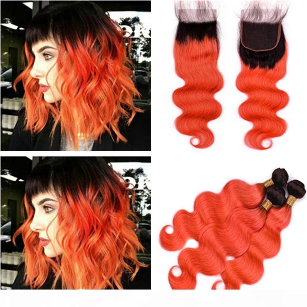 # 1b оранжевый омбре волна волос пучки волос с закрытием ombre оранжевый волнистые бразильские человеческие волосы 3 с 4х4 переднее кружевное закрытие 4шт