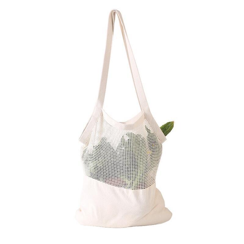 Kullanımlık Dize Alışveriş Çantası Meyve Sebze Eko Bakkal Çantası Taşınabilir Saklama Çantası Shopper Tote Mesh Net Dokuma Pamuk Saklama Çantaları YYS4530