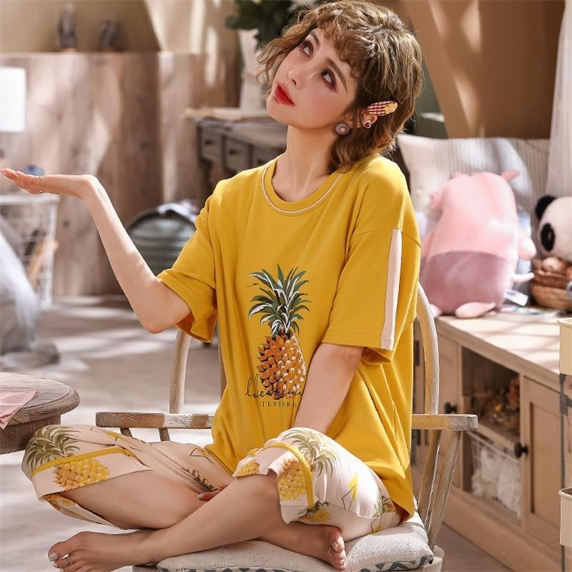 Корея свежих пижамных наборов для женщин 100% хлопок с коротким рукавом случайные спящие одежды женские пижамы костюм осень зима горячая распродажа LJ200921