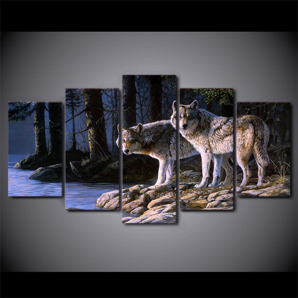 5 шт Canvas Art Two Wolf Lake Пейзаж Картина Стена Фотографии для гостиной стены искусства холстины