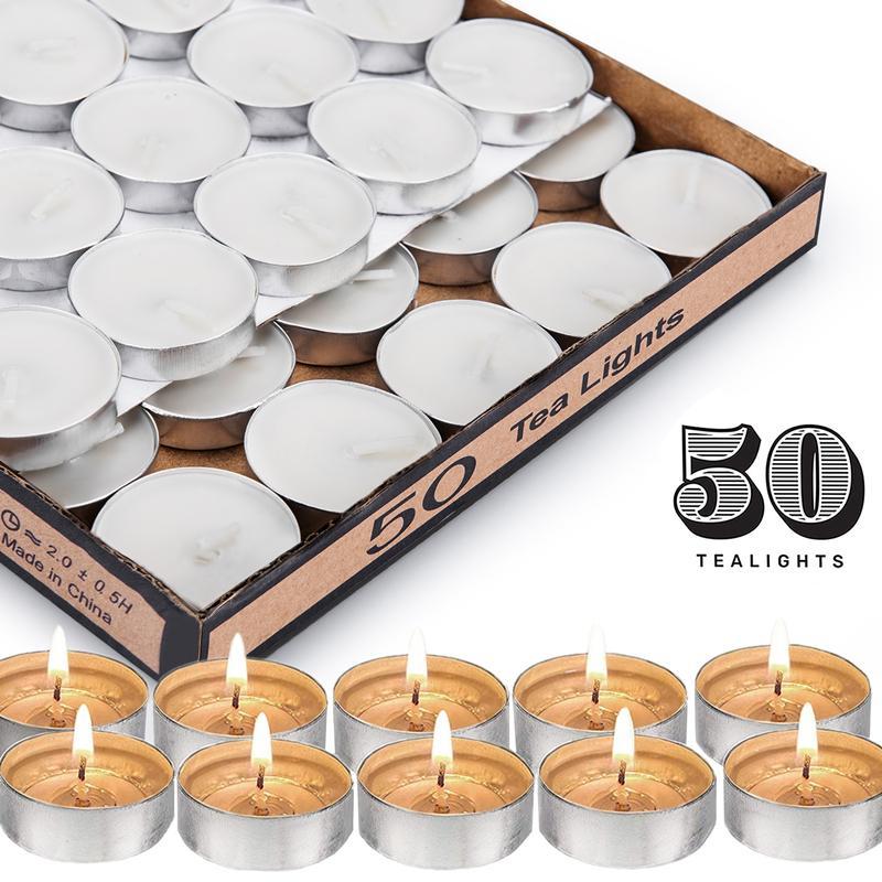 Çay Işık Mumlar, Beyaz Kazılmış Seyahat, Centerpiece, Dekoratif Düğün Mum, 4 Saat Yanık Zaman, Preslenmiş Balmumu, 50 Toplu Paketi LJ201018