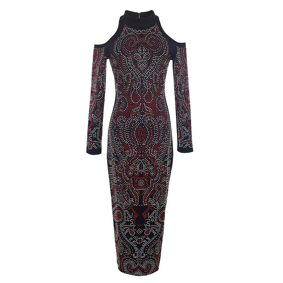 Alta calidad más reciente moda 2020 vestido de diseño barroco manga larga hombro hueco hueco de coloridos diamantes vestido de reborde lj201202