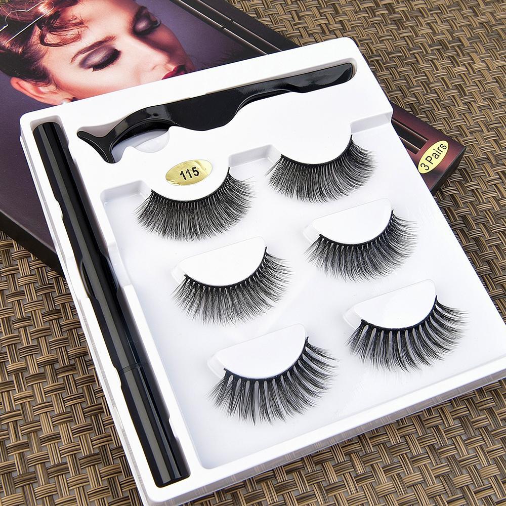 [Wimpern Set für Makeup-003] 3Pairs / 6 stücke Doppelmagnetische 3D False Wimpern Lange Natürliche Eime Wimpern + Tweezer Falsche Wimpern Lieferant