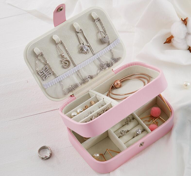 Caja de joyería doble capa caja de joyería grande collar pendientes anillo organizador de cuero caja de almacenamiento cajas de regalo mar FFC4870