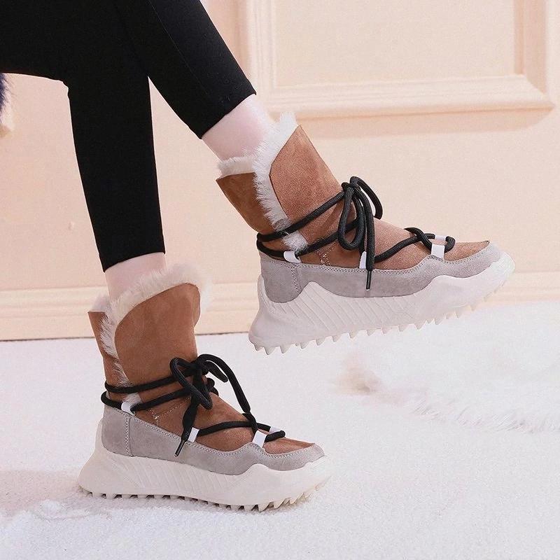 Rimocy épais longue peluche de peluche de neige chaude femmes femmes hiver non glissée plate-forme chunky bottines bottines femme coton rembourré chaussures baskets # bf1m