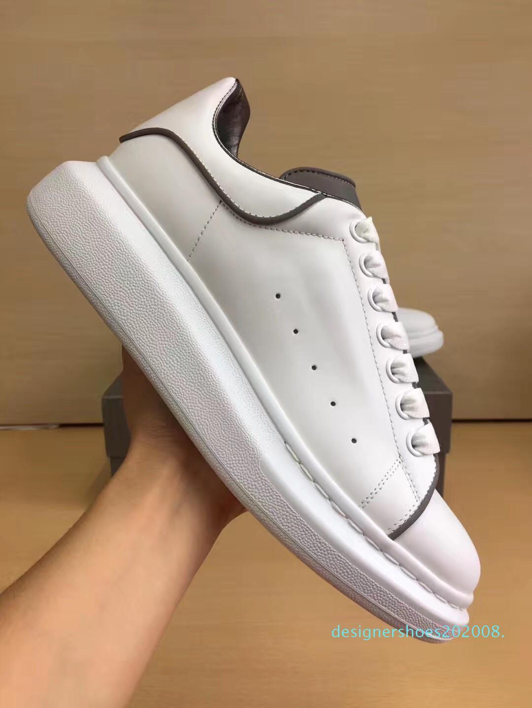 Shinny fluorescente Luminous reflexiva 3M Branca calçados casuais Platform Homens Mulheres Leather Comfort Lazer senhoras chaussures com caixa d08