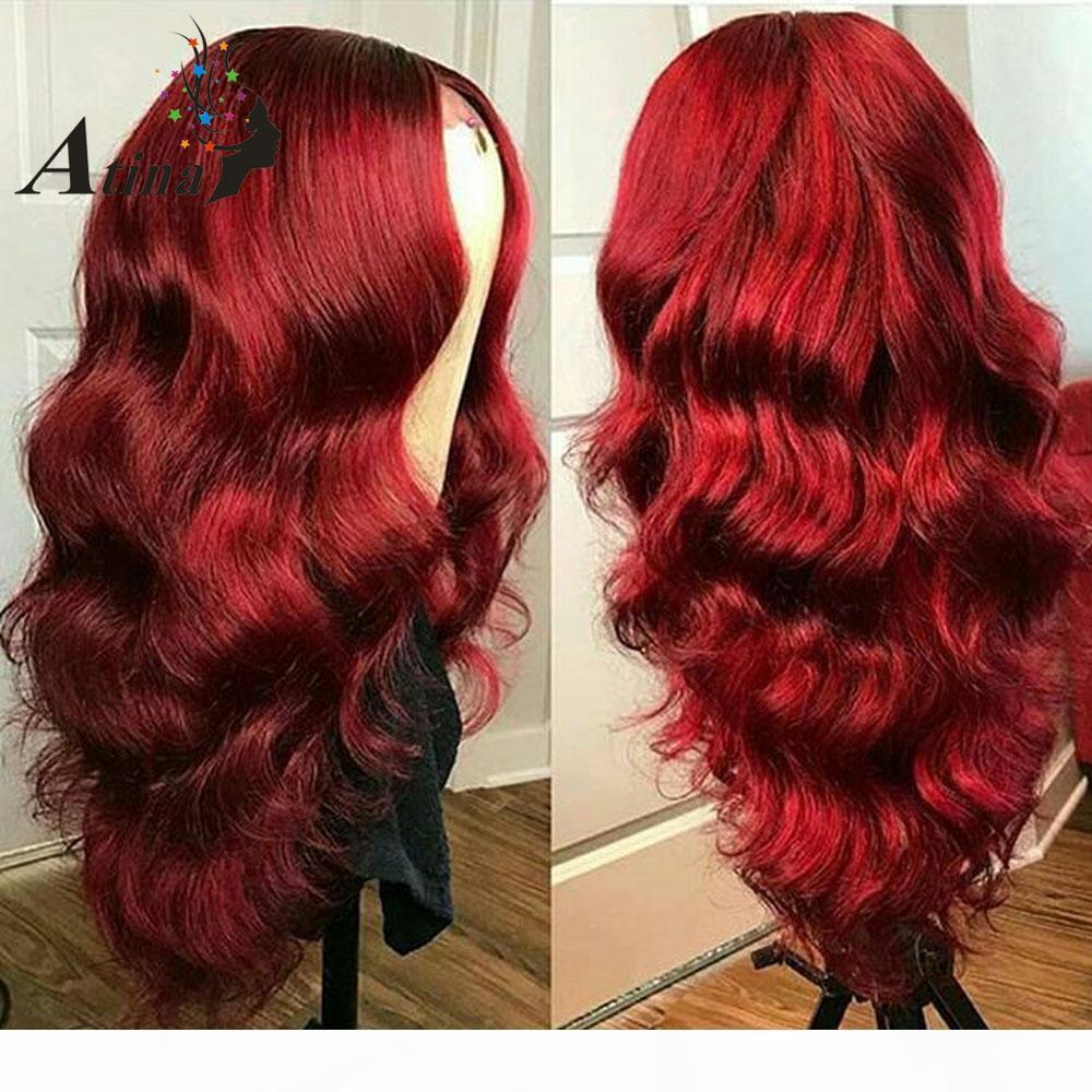 Satışta 2018 güzellik kadınlar için ham bakire remy insan saçı uzun kırmızı büyük kıvırcık tam dantel kap peruk işlenmemiş