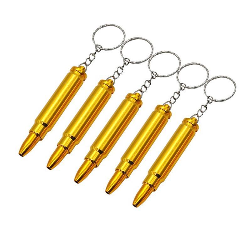 Yeni Bullet Boru Mini Funky Bullet Metal Altın Tütün Sigara Filtre Anahtarlık Kafa Gun Tabanca Bullet Şekli El Borusu