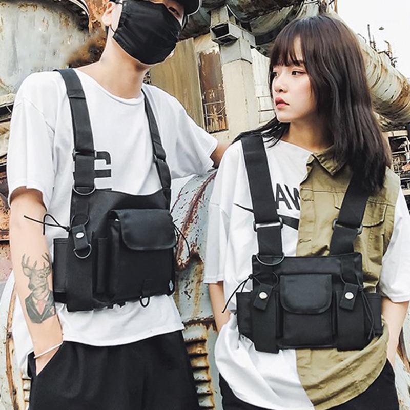 OUGGER FUNZIONALE TATTACCHETTA TATTACCHIO UOMO Fashion Hip Hop Gilet Streetwear Borsa Vita Pacchetto Donne Black Chest Rig1