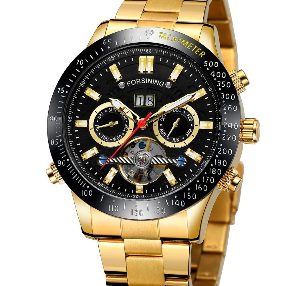 Мужской механические часы Автоматический Многофункциональные Tourbillon Дата стали Мужские часы