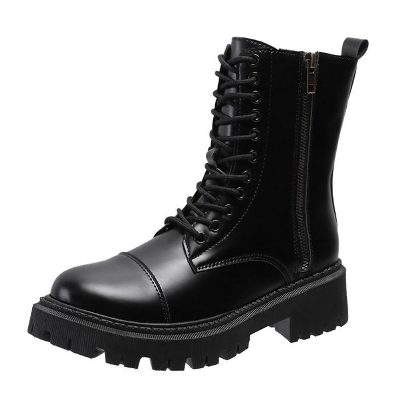 Winter für Frau neue Art und Weise reiz consice Schuhe Runde Spitze Kreuz gebunden prägnante neue Zipper Stiefel Flache Stiefel Matin 40