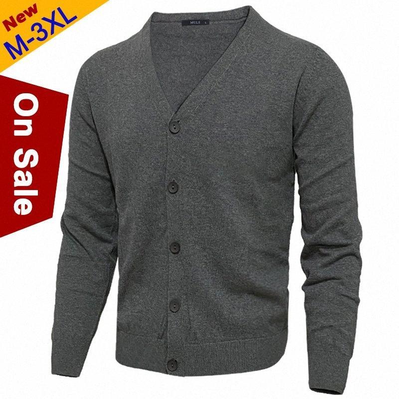 Para hombre de la chaqueta de punto de algodón masculino Knited V-Cuello punto de los hombres de primavera sólida capa de la chaqueta de la rebeca del estilo coreano Marca Muls Gris oscuro NOkD #