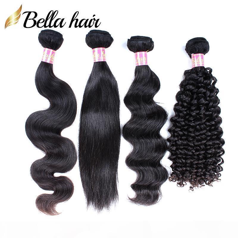 Бразильские волосы Weaves человеческие волосы пакеты вьющиеся ткани прямые волны тела свободные глубокие 3 шт. Девственные волосы наращивания волос двойной уток Беллахаир