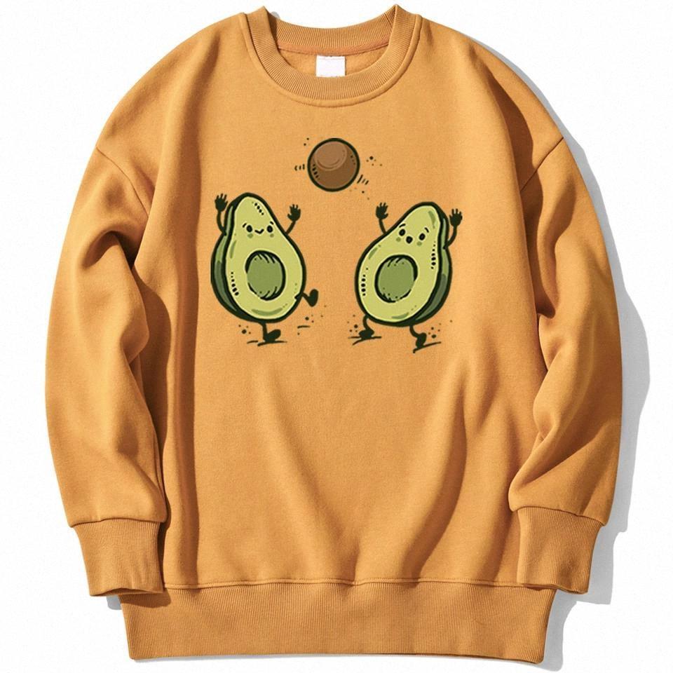 Frucht Avocado Cartoon Print Frauen Kleidung Fleece Lose Hoodie Hip Hop Pullover Hoodies Einfachheit Lose Harajuku Weibliche Hoodie # WF3e