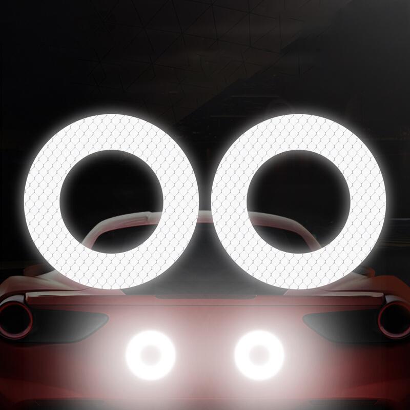 2 قطع سيارة عاكسة ملصقا جولة تحذير العلامة العلاجية السيارات الديكور عاكس قطاع ملصقات الملحقات الخارجية
