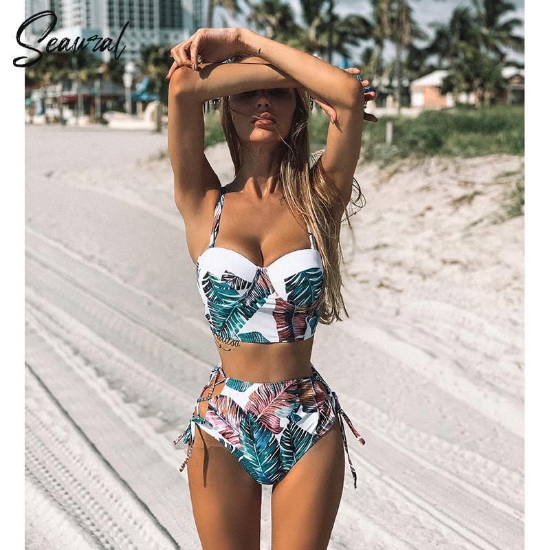 De cintura alta Bikini de 2019 mujer empuja hacia arriba traje de baño de las mujeres del vendaje del bikini floral traje de baño de dos piezas con tiras biquinitraje de bao C1008