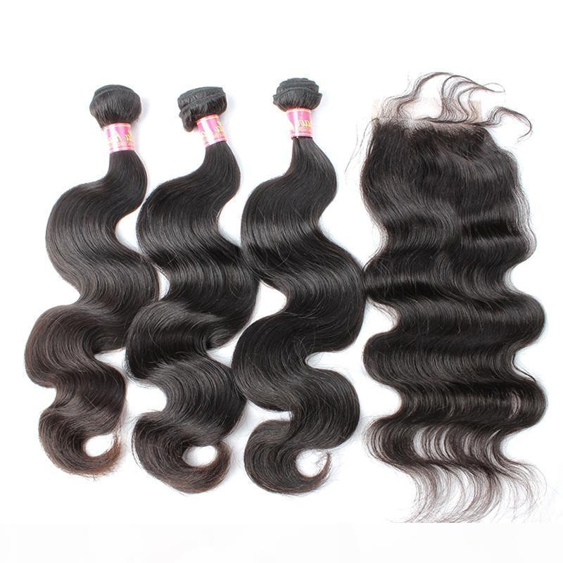 Capelli vergini malesi 3 fasci di capelli con 1 chiusura colore naturale wave on wave weaves weaves spedizione gratuita Bella