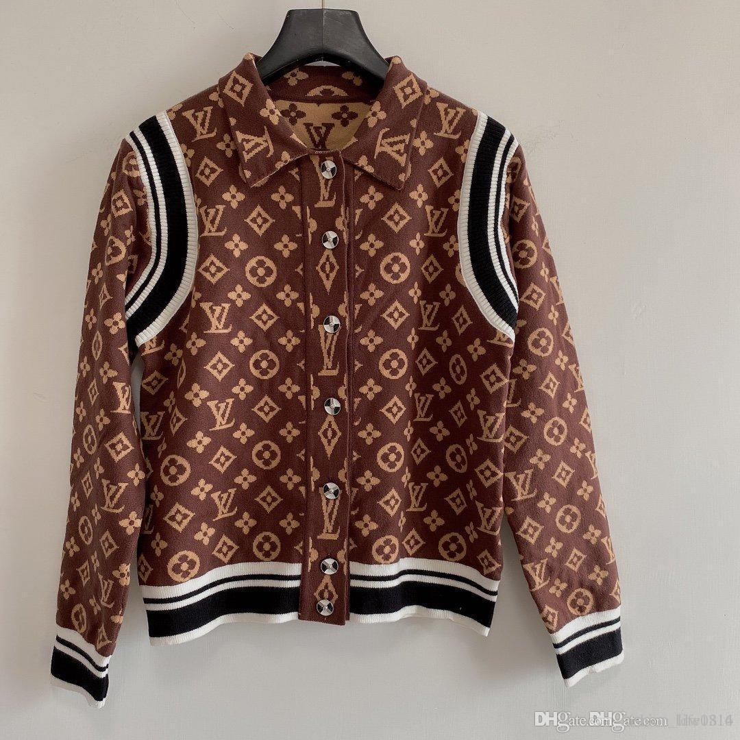 Взлетно-посадочная полоса свитер 2020 V шеи длинным рукавом High End жаккардовый кардиган женщин конструктора свитера женские кардиган женскую одежду дизайнеров