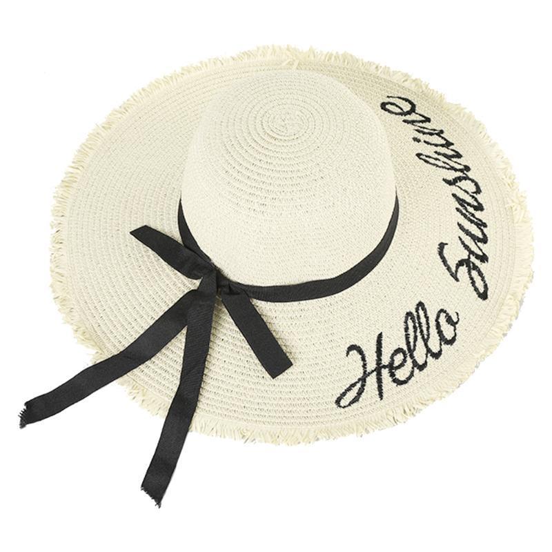 Femmes Camping Walking Bowknot Ruban Chapeau de paille Réglable Summer Summer Beach Lettre Soleil Cap Large Bronge Bronge Broderie