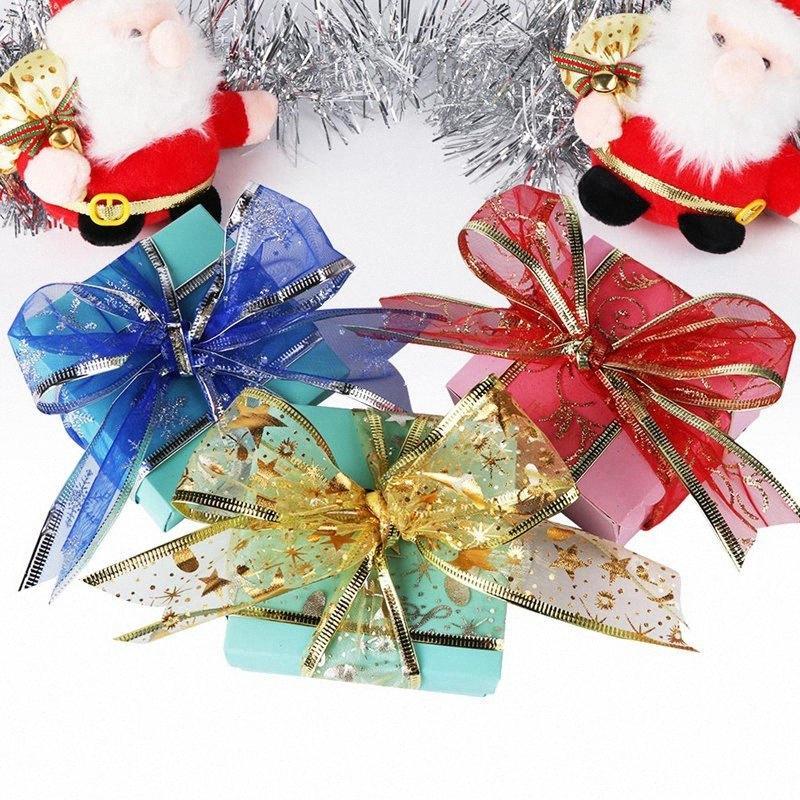 Ourwarm 10 jardas ouro Organza Organza Fita Presente Curva de Natal Árvore Decorações Presente de Natal Envoltório Festivo Festa Supplie M2ye #