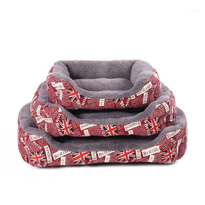 Padrão de bandeira Curto pelúcia super macio cama cama animal de estimação canil saco de dormir saco de dormir lounger casa de gato inverno sofá quente cesta de dog1