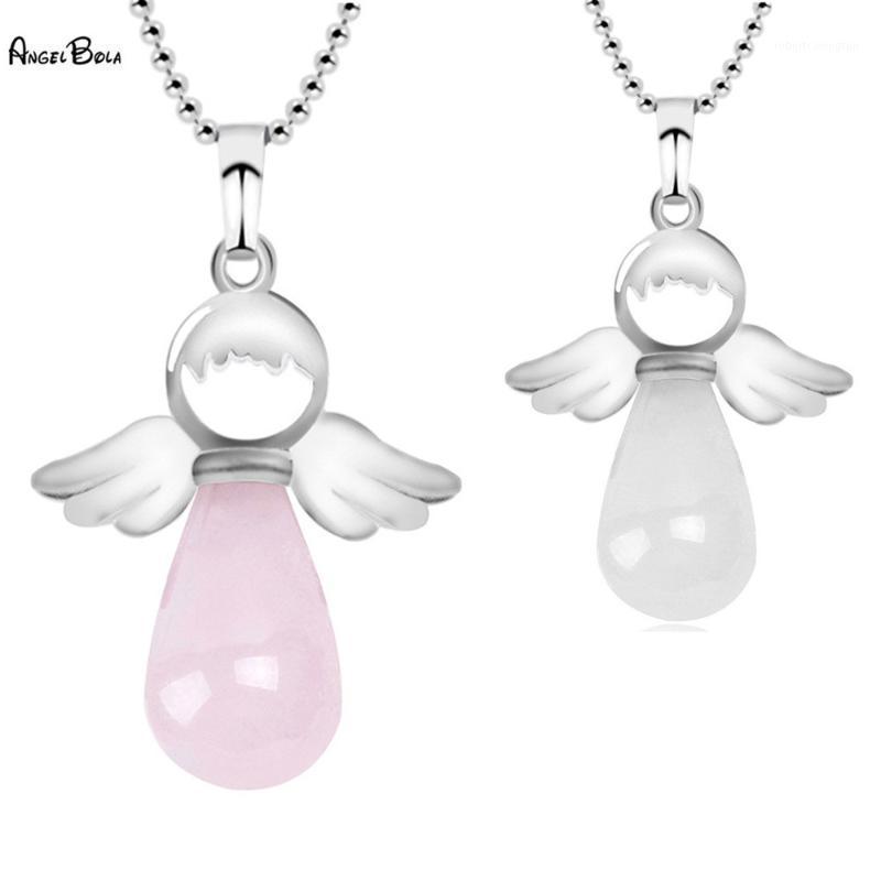 Nova moda anjo pingente colar rosa azul branco pedra natural redondo pingentes em forma de gota para jóias feminina presente1