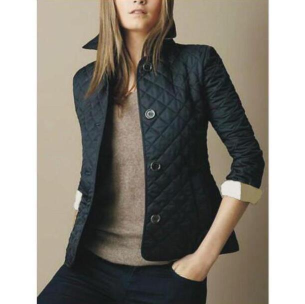 Heißer Verkauf Winter Klassische Frauen Mode England Kurze Stil Dünne Baumwolle Gepolsterte Jacke Langarm London Entwurf Diamant Blazer Mäntel S-XXXL