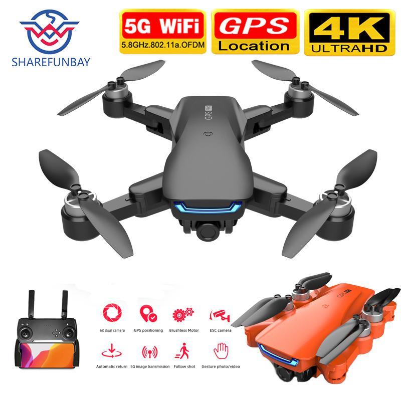 Новая LU5 Дрон и 4K Камера Двойная камера GPS Высота Высота Удержание безголова WiFi FPV Бесщеточный Мотор Дрон 4K Professional 201208