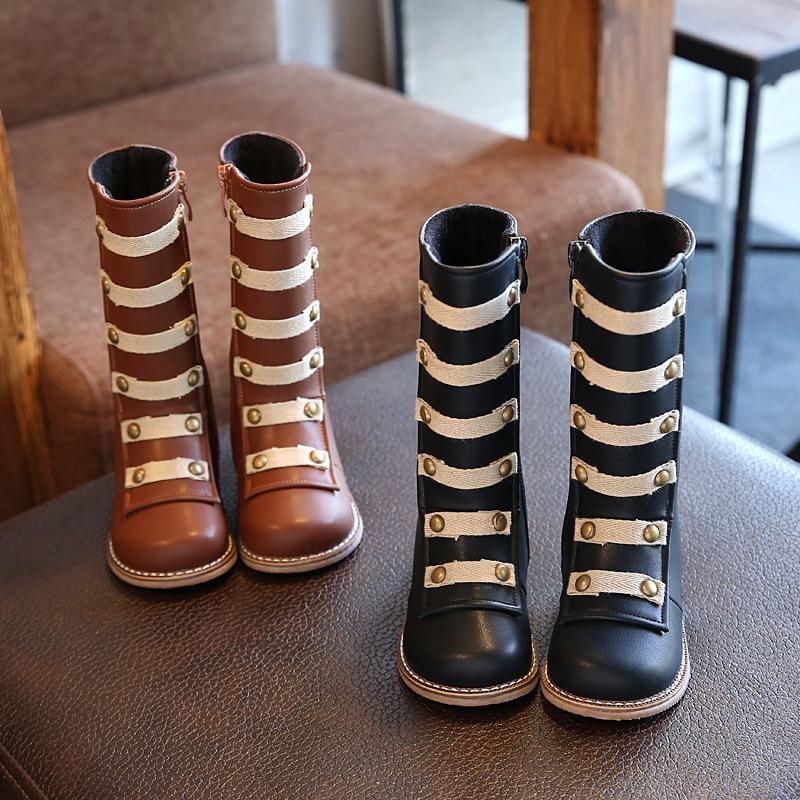 kid shoes boot girls Children Martin Boy&girl Fashion Rivet knee-high soft non-slip rubber sole boots 4-12 years old