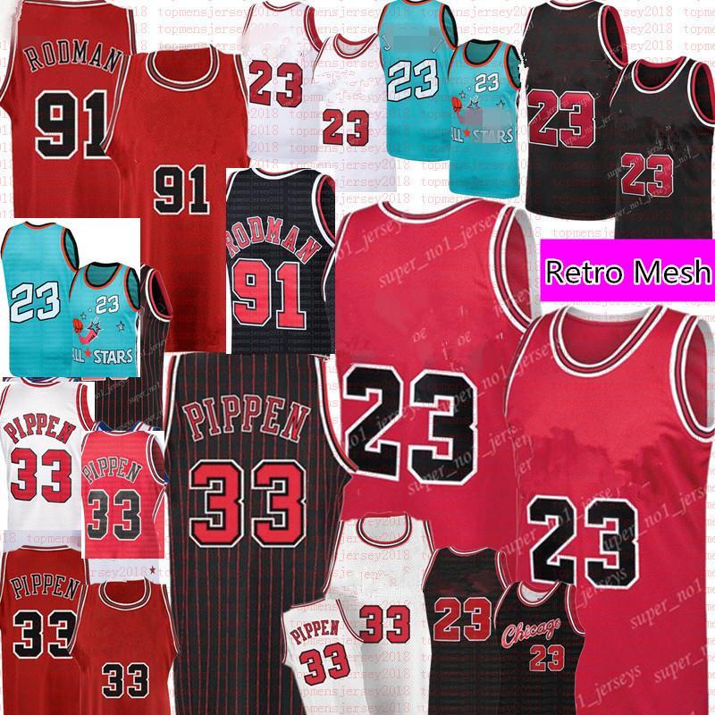 Ретро # 23 Скотти 33 Pippen Jersey Dennis 91 Родман Баскетбол Майки Мужская ретро сетка Джерси красный черный белый