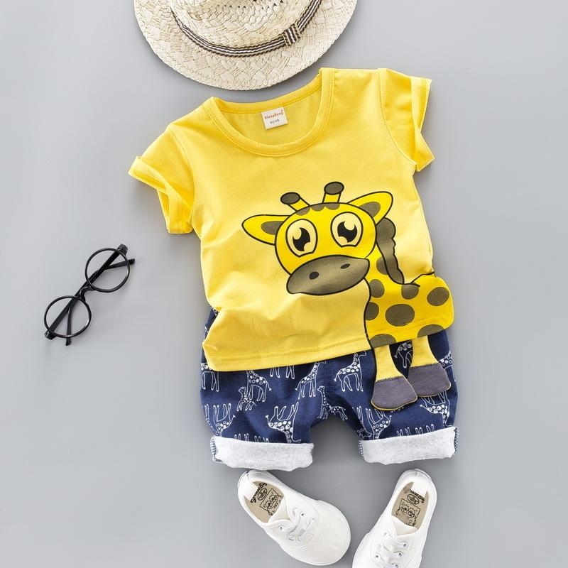 Summer Kids Baby Clothes Set for Boys Cut Cartoon Animal Infant Clothing Suit Giraffe Top T-shirt Toddler Outfit 1 2 3 4 Years 201009