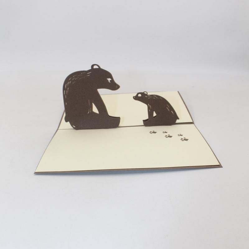 3D Handmade Cartoon Comic Sitting Father Son Bear Paper Blessing Greeting Card PostCard Student Kids Birthday Party Friend Gift