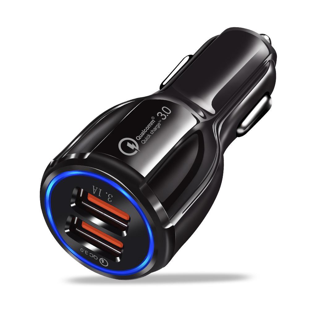자동차 충전기 USB 빠른 요금 18W 3.0 휴대 전화 듀얼 USB 자동차 충전기 QC 3.0 빠른 충전 어댑터 자동차 충전기