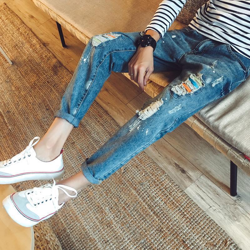 Frühling Herbst 2021Fashion Straße Hip Hop Herren Dünne Knöchellänge Jeans Farbe Rissloch Füße Hosen Trendy Teenager Bleistift Pants1