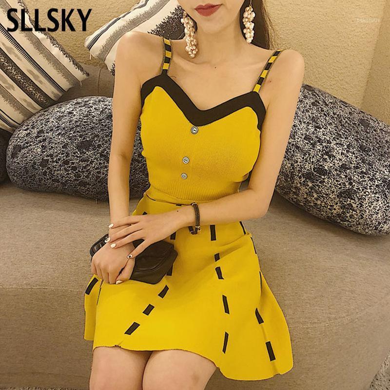 Sllsky tricoté femme élégante robe solaire 2020 Mode d'été Débardeur Solide Minisjeté Souffle Gaine Sweet Silf Sexy A-Line Dress1